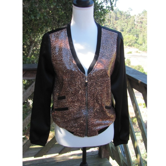 None Jackets & Blazers - Light weight leopard print sequined jacket or top